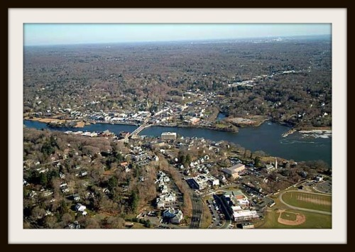 """From the air, downtown Westport does look like a """"village."""""""