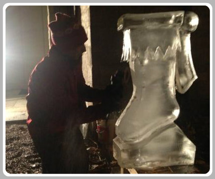 An ice sculptor, hard at work.