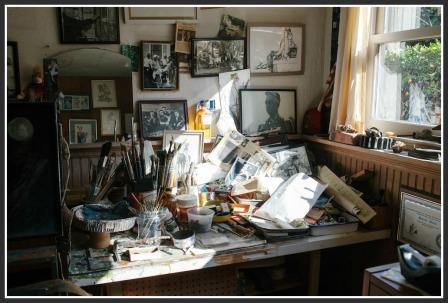 Howard Munce's well-used studio. (Photo by Brian Ferry for Harry's)