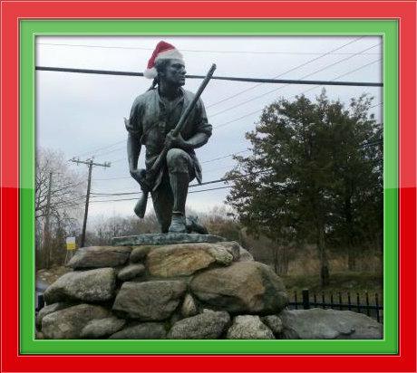 Minuteman Statue at Christmas