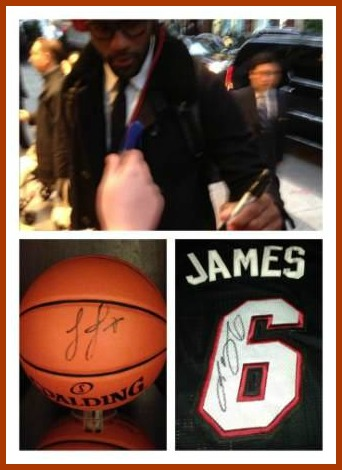 Lebron James signing autographs outside his New York hotel, and the items Nick obtained that day. James rarely signs, making autograph items rare. A ball or jersey fetches anywhere from $700 to $1500.