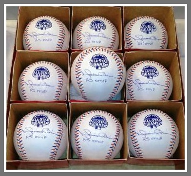 "8 Mariano Rivera autographed 2013 All- Star Game baseballs, inscribed ""AS MVP."" This was Rivera's last all-star game, and he was named MVP. Each ball retails for $400-500. Nick got them from a close friend of Rivera's in Boston."