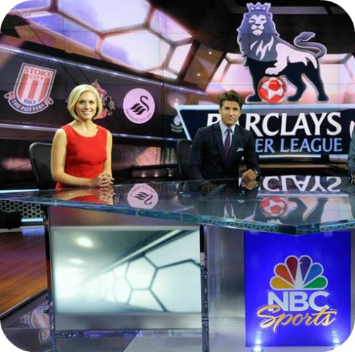 Two Westporters in the NBC Sports soccer studio. Rebecca Lowe is joined by Staples Class of 1999 graduate -- and former US national team player -- Kyle Martino.