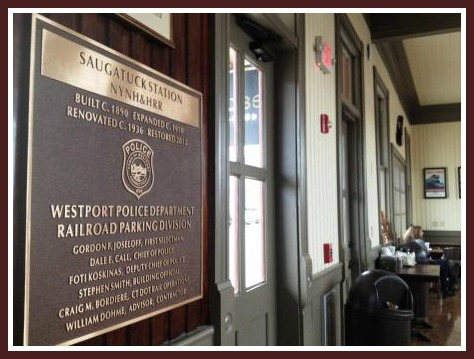 "A handsome plaque fits perfectly with the restored interior. The plaque includes a reference to the ""NYNH&HRR"" -- the old New York, New Haven and Hartford Railroad."