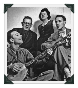 The Weavers included Pete Seeger (far left) and Fred Hellerman (far right).