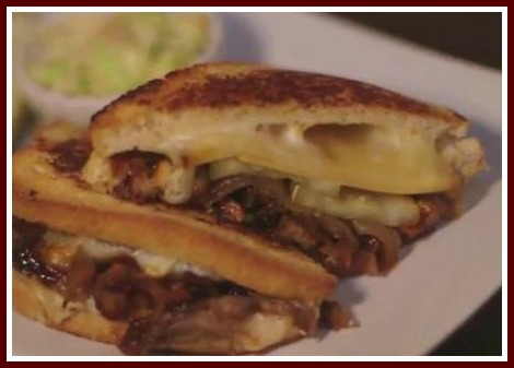 The menu includes grilled cheese with ribs and caramelized onions.