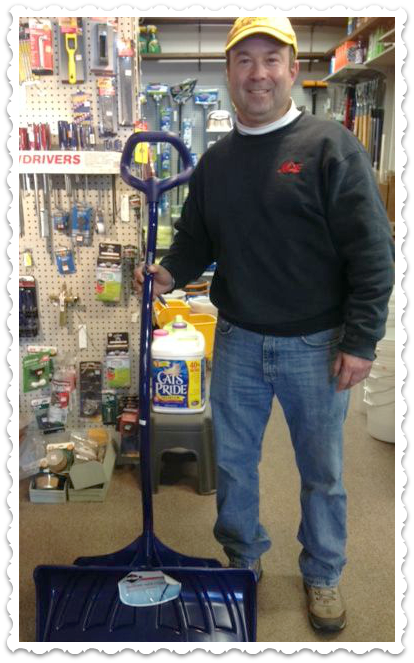 Crossroads Hardware owner Jimmy Izzo, and the last shovel.