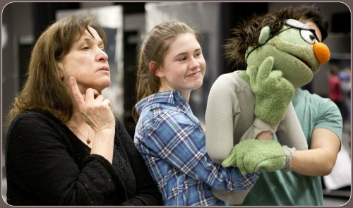 "Pam Arciero (left) coaches Rachel Corbally on being a right hand to ""Nicky,"" the puppet. (Photo/Kerry Long)"