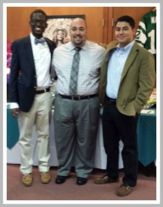 Graduating seniors Ruben Guardado (right) and Khaliq Sanda pose with Anthony Soto, the gala MC, and the 1st Westport ABC alum to earn a graduate degree.