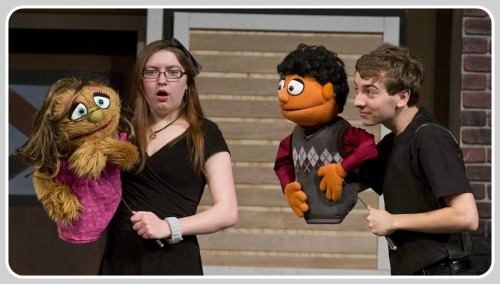 Emily Ressler, Will Haskell and their puppets. (Photo/Kerry Long)