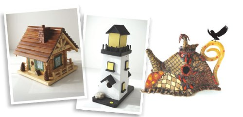 Birdhouses from previous auctions. (Photos courtesy of Westport Magazine)