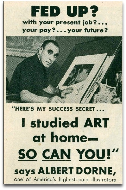 An advertisement from the 1950s. Perhaps Famous Artists could have hired a famous agency to create a more compelling ad.