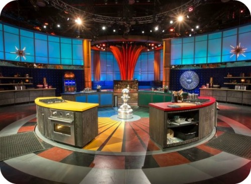 "The ""Kitchen Casino"" set includes a revolving roulette wheel, with 4 cooking stations. Each has an oven and stove top."