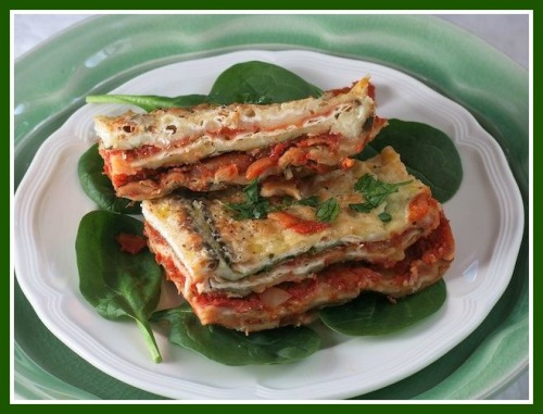 Cheesy matzah lasagna -- mmmmm! (Photo/Liz Rueven)