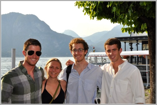 Michael Goodgame (far right) with his brothers Sam and Clatyon, and an unidentified friend, on a family trip to Lake Como.