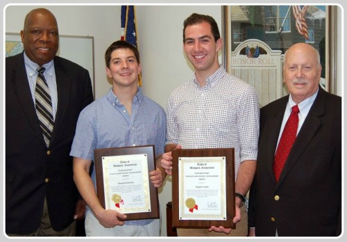 2013 TEAM Westport scholarship winners Rusty Schindler and August Laska pose with Harold Bailey and then-1st selectman Gordon Joseloff.