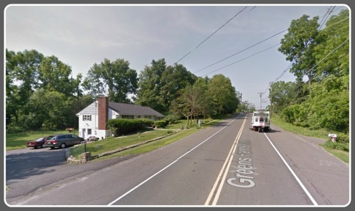 The cell tower is planned for the house on the left: 92 Greens Farms Road. (Photo courtesy of Google Maps)