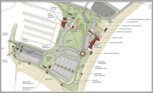 Part of the plan. It shows new entranceways, an expanded boardwalk, and a parking area in the center of the beach.