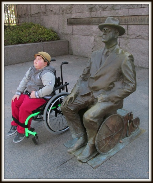 Cory at the memorial to President Franklin D. Roosevelt. Both used wheelchairs; neither was  bound by them.