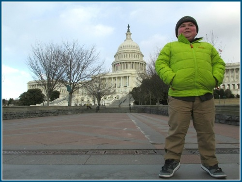 Cory stands proudly at the US Capitol.