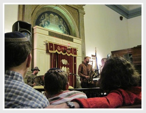Rabbi Greg Wall, doing double duty at his East Village synagogue.
