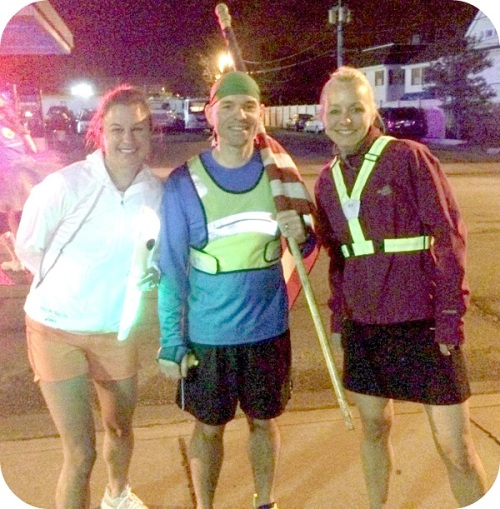 Morgan Mermagen, Mike Grant and Kelly Konstanty, after finishing their Westport to Bridgeport run.