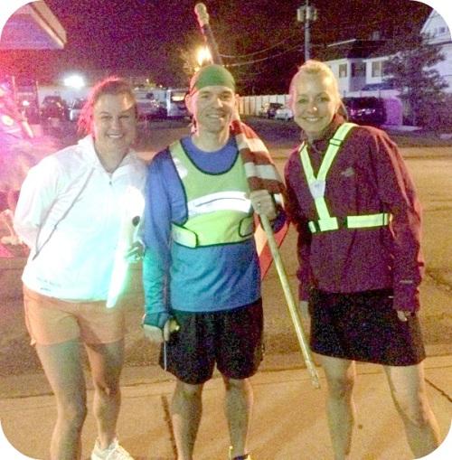 Morgan Mermagen, Mike Grant and Kelly Konstanty, after finishing their Westport to Bridgeport run.