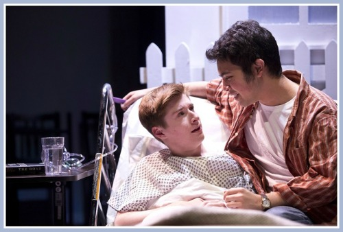 Dan (Jack Bowman, left) is dying of AIDS. Stephen (Joe Badion) is his partner.