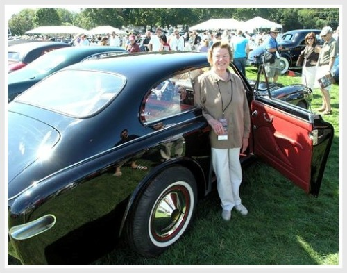 Lucie Cunningham McKinney, enjoying a car show at the Fairfield County Hunt Club.