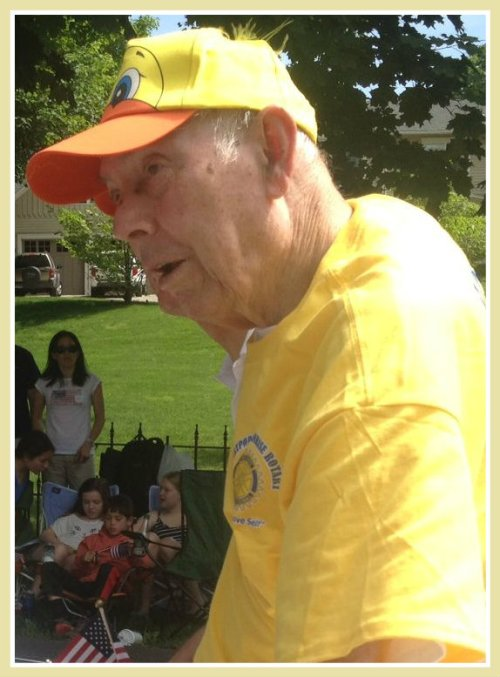 Yesterday, Bill Meyer was in the hospital. Today -- wearing his Sunrise Rotary gear -- he rides in the parade.