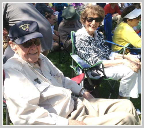 Ted Diamond and his wife Carol, on Veterans Green before the ceremony. Ted -- now 96, and the 2007 grand marshal -- flew 50 missions during World War II.
