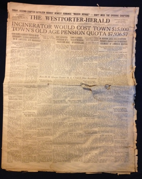 Page 1 on Friday, November 8, 1935. Don't worry if you can't read all 37 stories; I've picked out my favorites below.