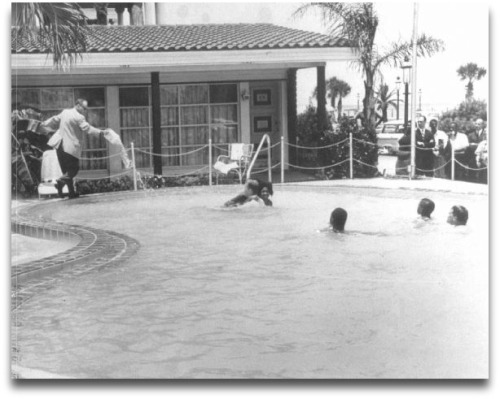 Monson Motor Lodge manager James Brock poured muriatic acid into the segregated pool, trying to get a group of rabbis and blacks to leave.