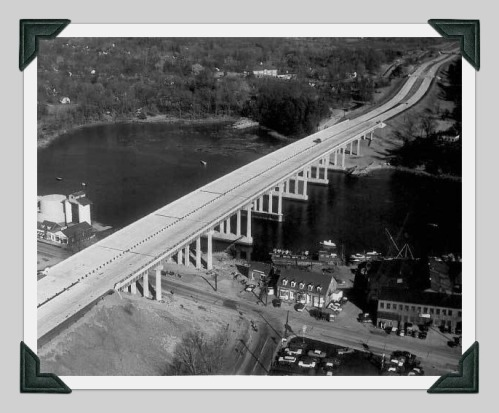 Construction in 1957 of the Connecticut Turnpike bridge in Saugatuck. The highway ripped through that neighborhood.