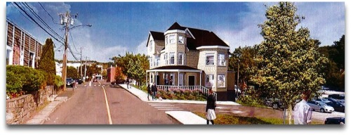An artist's rendering of the Kemper-Gunn House, after it is moved to the Baldwin parking lot.