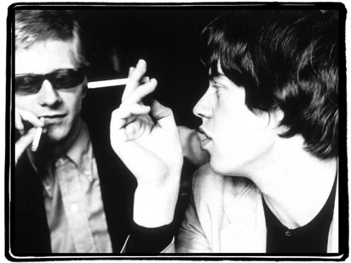 Andrew Loog Oldham (left) and Mick Jagger.