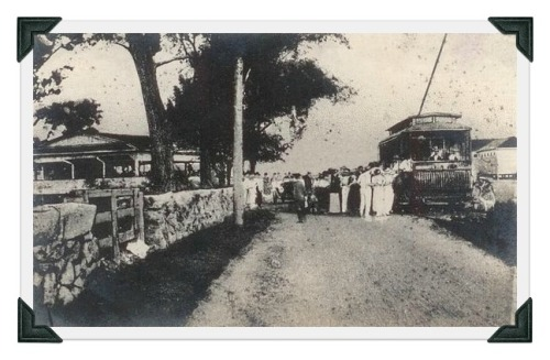 In the early 20th century, trolleys were an important part of Westport transportation. This is the terminal at Compo Beach.