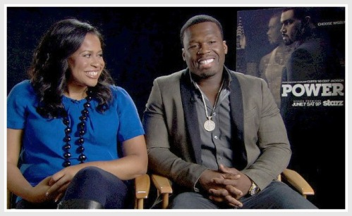 "Courtney Kemp Agboh with her ""Power"" producer 50 Cent."