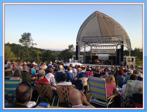 A small portion of the large crowd, and the new Levitt stage.
