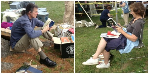 Some book sale patrons can't wait to start reading what they've bought. Or maybe they're deciding whether  to buy.