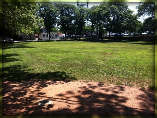 Home plate remains, but the rest of the softball diamond is gone. View is toward Railroad Place. (Photo/JP Vellotti)