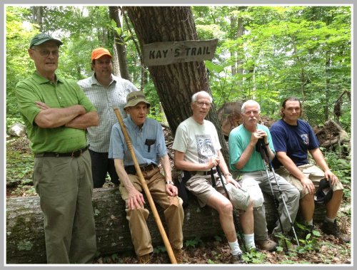 Some of the preserve's most ardent supporters, at Kay's Trail. From left: Bob Fatherley, David Gumbart, Lou Bregy, Dave Thompson, Alec Head and Mark Mainieri.