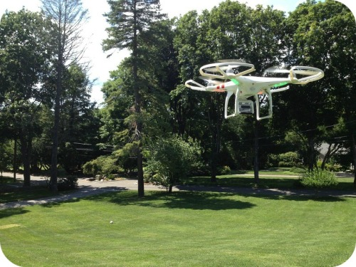 Rick Eason's drone hovers over his front lawn.