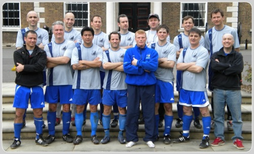 Todd Coleman (top row, 3rd from left) with the Westport Over-30 team, on a tour of England. To his left his Ivan Gazidis, Arsenal CEO, who played with Westport when he was assistant commissioner of MLS. To Coleman's right is Mark Noonan, a former Staples teammate who won a national championship at Duke. Other former WSA and Staples players were on the Over-30 team too.