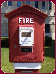The Connecticut Fallen Firefighters Memorial features a call box, from back in the day.