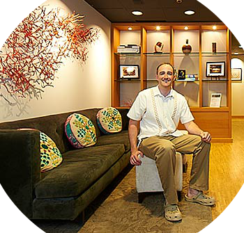 David Conneelly, in iFloat's warm and welcoming lobby.