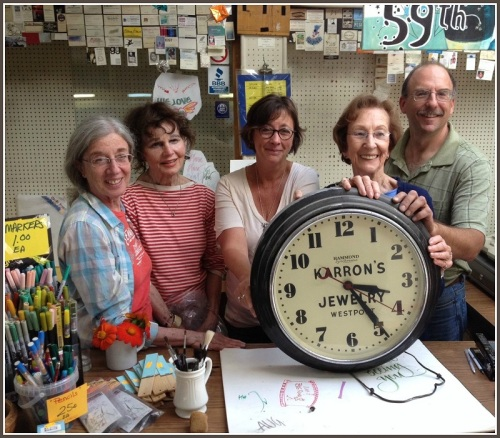 The clock and (from left) Nina Royce, Rita Ross Englebardt, Sherri Wolfgang, Shirley Mellor, Jay Cimbak.