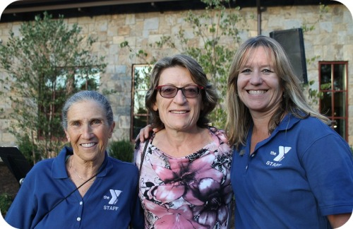 Enjoying the evening (from left): Ruth Sherman, who has taught aqua fitness at the Y since the 1960s; former CEO Helene Weir, who came from Canada, and Patty Kondub, a popular Y spin and aqua teacher. (Photos/Scott Smith)
