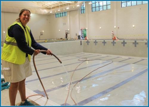 Y pool being filled