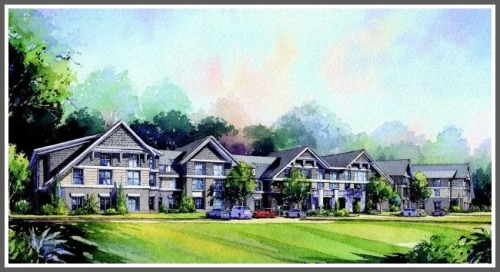 An artist's rendering of the now-rejected senior housing complex on Baron's South.